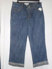 NWT Size 6 Coldwater Creek Metallic Embroidered cropped / capri's Denim Jeans