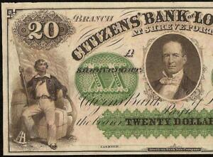 1860s $20 DOLLAR BILL CITIZENS BANK LOUISIANA SHREVEPORT NOTE LARGE CURRENCY