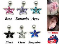 316L Flower CZ Top Barbell Ear Cartilage Helix Tragus Studs Earring Piercing 1pc