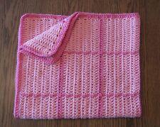 New Handmade Pink Crocheted Baby Blanket Afghan