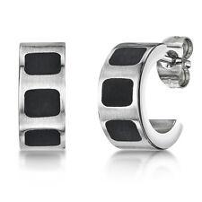Titanium Half Hoop Earrings Black Enamel Stud Earrings Two Tone Pair Earrings