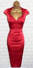 Exquisite KAREN MILLEN Cherry Red Satin Galaxy Wiggle Dress UK 10 Wedding Races