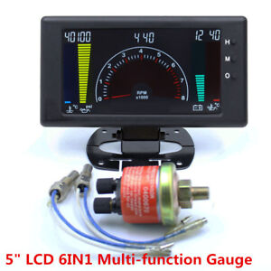 "6In1 5"" Inch LCD Car Water Oil Temp RPM Tach Meter Volts RPM Oil Pressure Gauge"