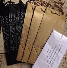 6-DELUXE WINE GIFT BAGS W/TAGS~Black Gold ALL OCCASION GIFT GIVING With Tissue