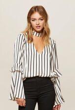 Miss Selfridge - Satin Stripe Choker Neck Top - Size 8 - BNWT