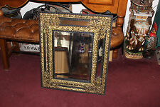 Antique Victorian Gilded Brass Floral Metal & Wood Wall Mirror-Large & Ornate