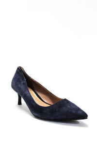 Signature By Vince Camuto Womens Suede Solid Kitten Heel Pumps Blue Size 5.5 M