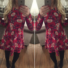 Women Long Sleeve Christmas Party Mini Dress XMAS Print Long Pullover Tops Skirt