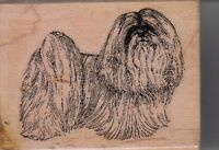 "llasha apso stamp cabana Wood Mounted Rubber Stamp 2 x 3""  Free Shipping"