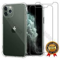 Clear Case For iPhone 11 Pro Max Xs XR X 8 7 6s Plus With 2PK Screen Protectors