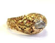 Nugget Rose Cut Diamond Ring Size 5.75 Antique Georgian Unique 18K and 24K Gold