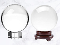 80mm FengShui Clear Glass Crystal Ball with Stand Paperweight Gift Home Decor