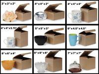 Natural Brown Kraft / varnish stripe exterior Gift Box Choose Size & Pack Amount