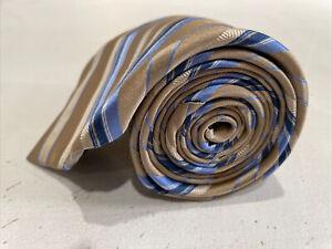 Michael Kors Men's Gold Brown Blue Stripe Silk Neck Tie $98