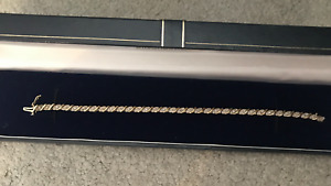 "Eloquent 9ct gold & diamond tennis ""style"" bracelet £159"