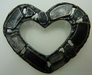Vintage Heart Shape Agate Scottish Celtic Brooch Pin Silver Green Grey Agates