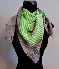 "VTG YSL Yves Saint Laurent Silk Scarf Green & Black Stripe 35"" x 32"""