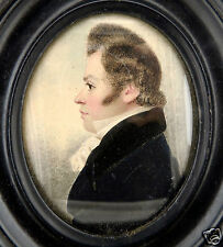 Fine Antique American or English Watercolor Portrait Miniature Painting - VR