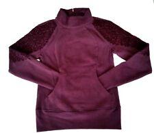 Lululemon Floral Flock Pullover Sz 4 Fleece Sweatshirt Blck Cherry $118 Yoga NWT