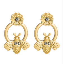 NEW Bee Insect Vintage Golden Pale Yellow Crystal Crystal Embellished Earrings