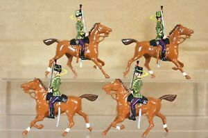 BRITAINS RE CAST 4 x MOUNTED 12th MIDDLESEX HUSSARS CAVALRY on PARADE nq
