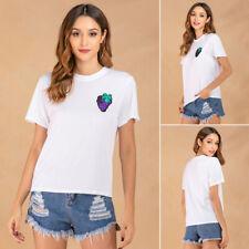 Mujer Camiseta Camisa Manga Corta Top Largo Verano Túnica Partes de Arriba