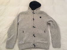 Authentic Buffalo David Bitton Wendell Toggle Heather Faux Shearling Hoody Sz L