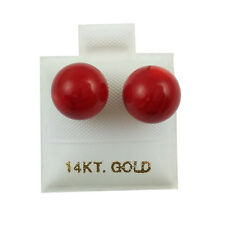 14K Yellow Gold - 10mm Red Coral Ball Stud Earrings (GE392)