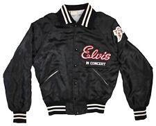 ELVIS PRESLEY IN CONCERT Black Satin Jacket TCB Embroidered HOWE MEMPHIS, USA S