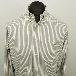 Lacoste Mens Vintage Shirt 39 MEDIUM Grey Regular Striped Cotton