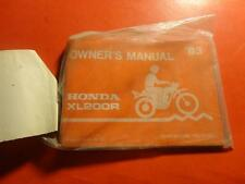NOS OEM FACTORY OWNERS MANUAL HONDA 1983 XL200