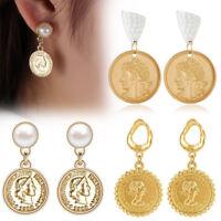 Women Gold Geometric Irregular Circle Pearl Drop Earrings Coin Earrings Hot
