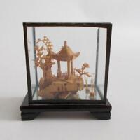 Miniature Asian Cork Sculpture Glass Case Vintage Pagoda Bonsai Trees