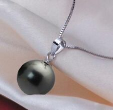 14mm Round Black South Sea Shell Pearl 925S Pendant Necklace AAA
