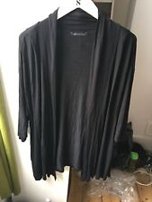 Marks and Spencer Size 26 Black Jersey Stretch 3/4 Sleeve Open Front Cardigan F1