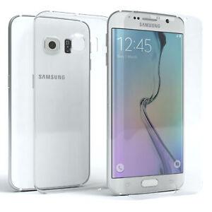 Samsung Galaxy S6 Edge Hülle Silikon Handy Cover Case + Schutzglas 9H Glas Folie