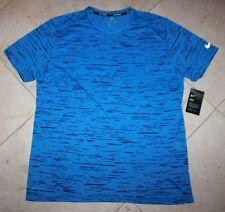 NWT Men's NIKE Dry S/S Dri-Fit Tailwind Pocket Printed Running Shirt Blue - XL