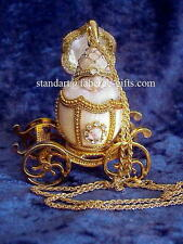 Russian Easter Empress Alexandra White Carriage Egg with Pendant Necklace