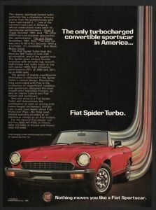 1982 Red FIAT SPIDER TURBO Convertible Sports Car VINTAGE AD
