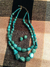 "Turquoise Nugget 18"" Necklace-Sterling Silver With Matching Earrings"