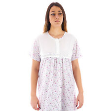 Camicia da notte donna estate in cotone manica corta costina    1DECAM051