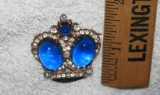 VINTAGE STERLING SILVER JELLY BELLY COBALT BLUE CROWN BROOCH PIN