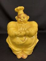 Cookie Jar Chef Pierre Red Wing Yellow Pottery Vintage Collectible 1940 - 50's