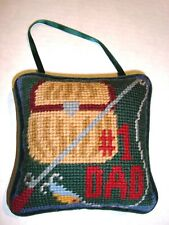 "Fishing Themed Hanging Door Pillow ""#1 DAD"" - Handmade Needlepoint - NEW"