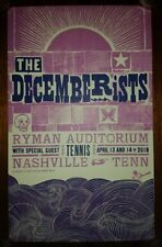 THE DECEMBERISTS Ryman HATCH SHOW PRINT Nashville 2018 Tour Poster Colin Meloy