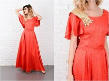 Vintage 70s Red Maxi Dress Gold Metallic Sequin Full Angel Slv