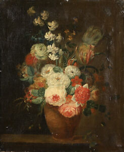 18th CENTURY FRENCH OLD MASTER OIL ON CANVAS - VASE OF FLOWERS - TO RESTORE