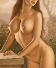 NUDE FEMALE EROTIC NATURE CLASSICAL ART. ORIGINAL OIL PAINTING by JOHN SILVER
