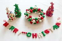 Felt Handmade Merry Christmas Letter Wreath Mini Christmas Tree Bundle