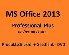 Microsoft Office 2013 Professional Plus 32 oder 64 Bit Key + gratis DVD pro